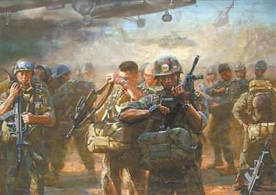 李明峰从小喜欢画画,是一个在基层部队成长起来的充满激情的业余美术图片